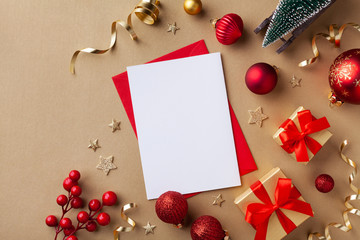 Empty paper blank for Christmas or New year greeting card. Gift boxes, holiday decorations, small...