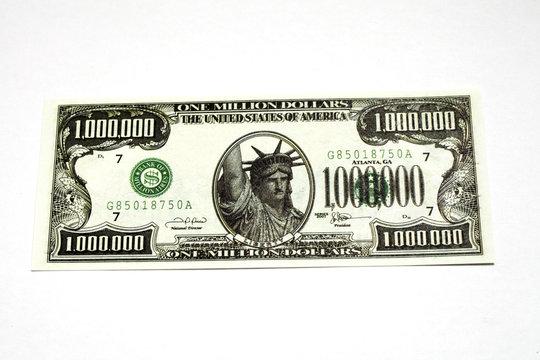 one million dollar bill on a white background
