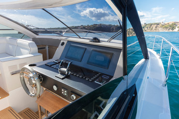 luxury motor yacht cockpit view
