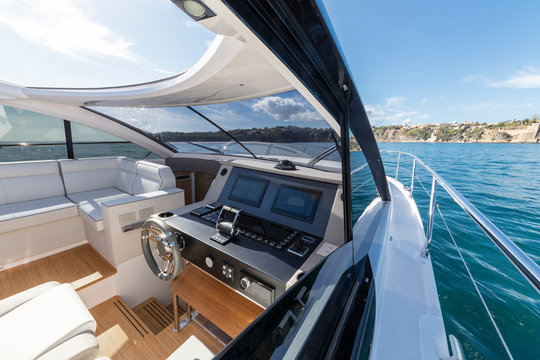 luxury motor yacht cockpit view