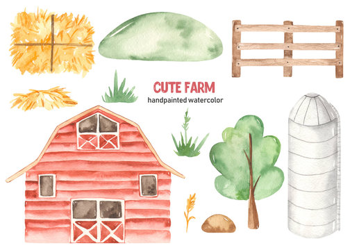 Watercolor cute farm with barn, granary, hay, shovel, wooden fence, hill, tree, grass