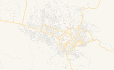 Obraz Printable street map of Dire Dawa, Ethiopia - fototapety do salonu