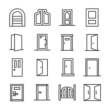 Simple set of door icons in trendy line style.