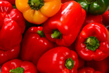 Fresh red, green, yellow bell pepper background.