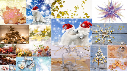 Merry Christmas: Collage of different festive Christmas pictures: golden stars, snowflakes,  snow bears with Nicolas caps, baking accessories and other decorations.