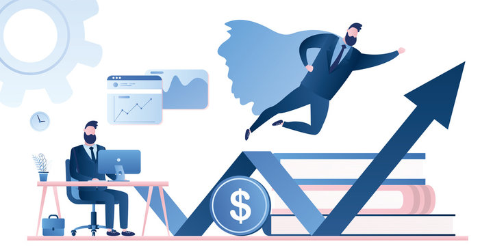 Successful trader or businessman in the workplace. New start up venture concept