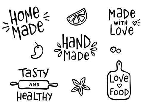 Set of hand drawn simple kitchen phrases about food and cooking - hand made, home made, made with love, tasty and healthy.  Prints for menu, restaurants or cafe, or separate elements. Ink, pen outline