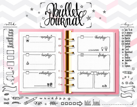 Week organizer. Opened notebook on light white texture. Line doodles set on mock up. Days of week calligraphy and bullet journal elements set.