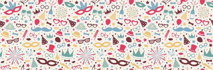 Colorful seamless pattern with carnival, photobooth and birthday party elements. Vector