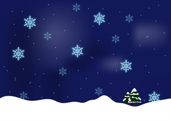christmas background with tree and snowflakes