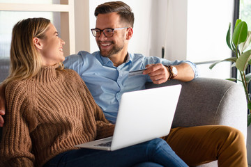 Young couple ordering online
