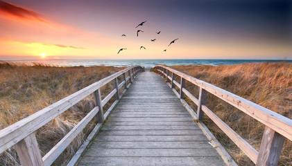 Foto auf Leinwand Cappuccino romantischer Weg zum Strand