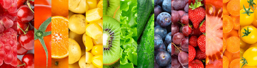 Autocollant pour porte Magasin alimentation Background of fruits, vegetables and berries. Fresh food