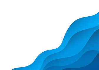 Blue alternating wave bottom right corner abstract vector background