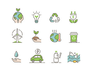 Ecology Icons Set. Global Warming, Climate Change, Plastic Pollution and other Ecology Problems. Save the Planet Symbols. Eco Environment Signs Collection. Flat Line Cartoon Vector Illustration. - fototapety na wymiar