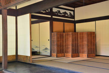 Look into an open Japanese house.