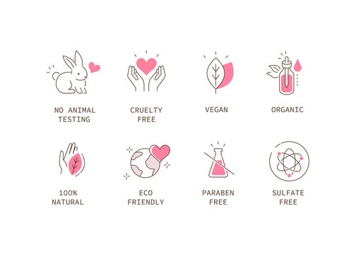 Vegan Organic Cosmetic Icons Collection. Not Tested on Animals, Cruelty Free Badges. Eco and Nature Friendly Logo Templates. Flat Line Cartoon Vector Illustration.