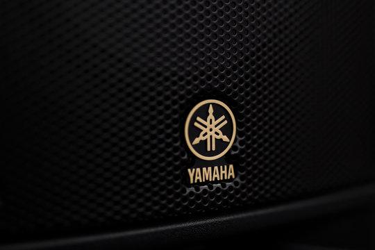 Detail of Yamaha sound speaker. Yamaha Pro Audio Inc. produce beginer professional audio products.