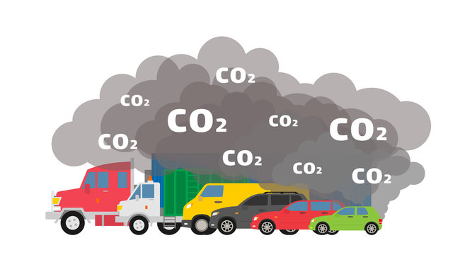 gasoline cars emits co2 dioxide air pollution ecology concept