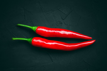 Canvas Prints Hot chili peppers Red hot chili peppers on a dark background