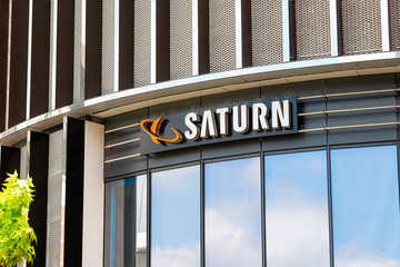 Logo of a Saturn electronics retailer