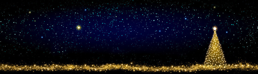 Golden Christmas tree isolated on stars sky background.