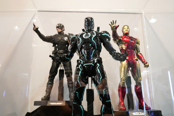 KUALA LUMPUR, MALAYSIA -JUNE 22, 2019: Selected focused on IRON MAN character action figure from Marvel Iron Man comics and movies. Displayed by the collector for sale.