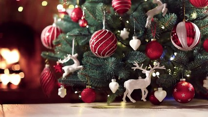 Wall Mural - Christmas Tree with Red Balls and Deers. Winter Holiday Background