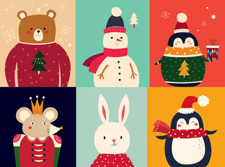 Fotomurales - Vector illustration with funny characters bear, snowman, penguin, mouse and bunny