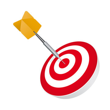 Darts arrow hit in the center of a target vector illustration