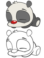 Foto auf Leinwand Babyzimmer Vector Illustration of a Cute Cartoon Character Panda for you Design and Computer Game. Coloring Book Outline Set