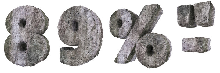 Abstract Old Concrete Figures and Signs 8 9 Percent Dash Quotes