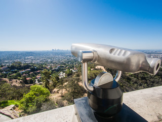 LOS ANGELES, USA - SEPTEMBER 20: Griffith Observatory on September 20, 2015 in Los Angeles, United States. The observatory is a popular tourist attraction with an excellent view of the Hollywood sign.