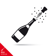Champagne bottle popping open vector glyph icon. Success concept.