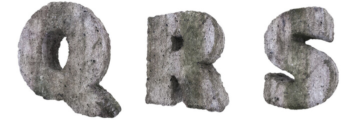 Abstract Old Concrete Letters Q R S