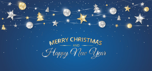 Wall Mural - Merry Christmas banner with sparkling gold and silver decoration on black background