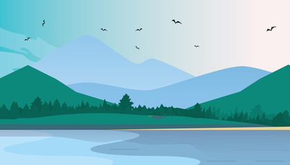 Tuinposter Pool Flat Vector Mountain Landscape Near The Lake. Flat Vector Illustration. Flat Design Background. Web vector illustration.