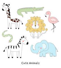 Printed kitchen splashbacks Illustrations Set of Cute hand drawn vector African Animals. Vector Illustration. vector print.