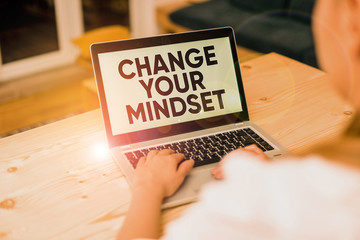 Text sign showing Change Your Mindset. Business photo text replace your beliefs way of thinking mental path woman laptop computer smartphone mug office supplies technological devices Wall mural
