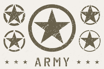 Set of Army Star Grunge Effect. Military Insignia Symbol