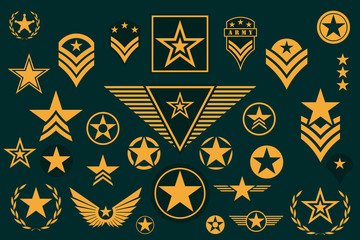 Set of Army Star. Military Rank Insignia. Military Symbol