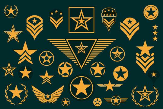 Set of Army Star. Military Rank Insignia. Military Symbol