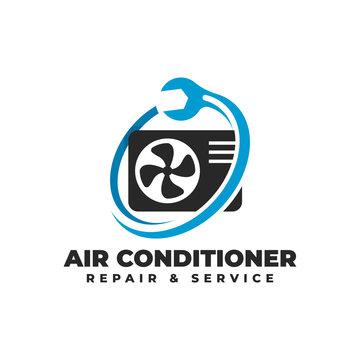 Air Conditioner Repair & Service Logo Vector Icon Illustration