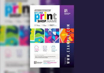 Print Shop Poster Layout with Colorful Graphics