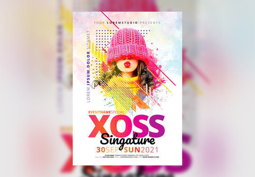 Event Flyer Layout with Bright Colorful Accents