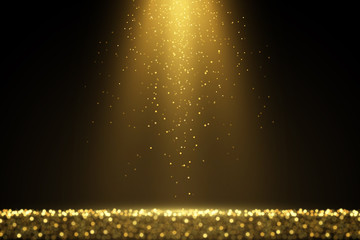 Sparkling golden glitter dust abstract luxury background