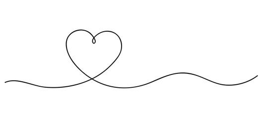 Fototapeta Heart. Continuous line art drawing. Hand drawn doodle vector illustration in a continuous line. Line art decorative design obraz