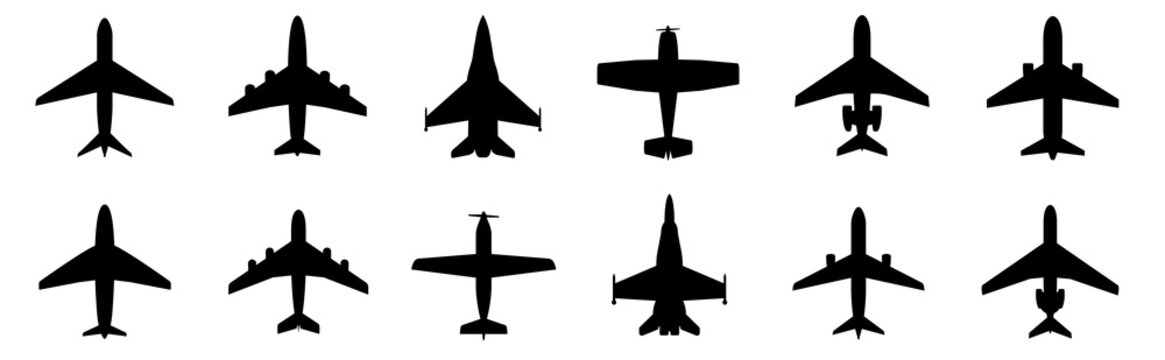 Set airplane icon. Aircrafts flat style - stock vector.