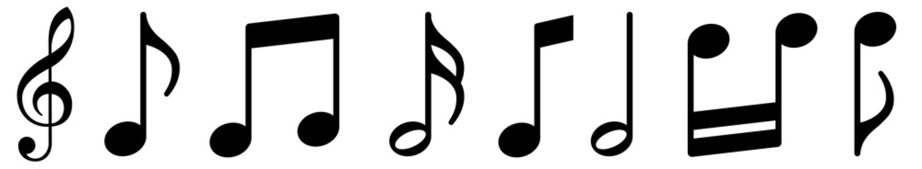 Music notes icons set. Black notes symbol on white background - stock vector. Fotobehang