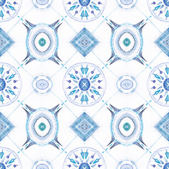 seamless blue rapport tiles style for fashion textile and deco , wallpapers, floors . etc